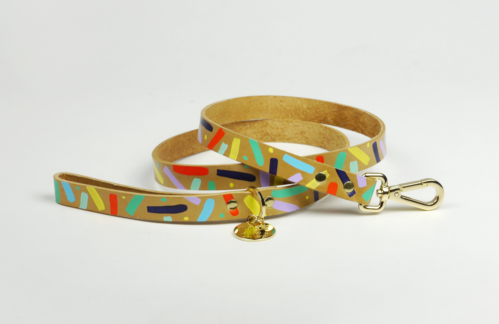 Nice Digs - Confetti leather leash
