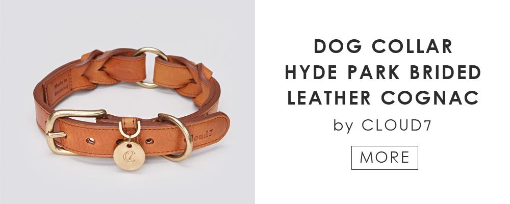 ドイツ生まれのドッグブランド「Cloud7」の愛犬用カラー DOG COLLAR HYDE PARK BRIDED LEATHER COGNAC by Cloud7