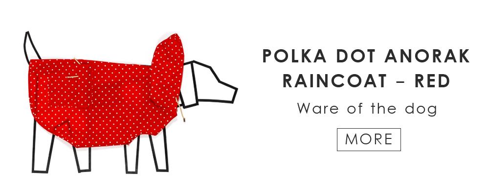 雨の日のお出かけに。今年の愛犬用レインコートは可愛い水玉模様ですよ(POLKA DOT ANORAK RAINCOAT by Ware of the dog)