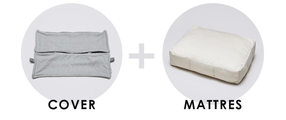 ベッドカバーとマットレスのセットです