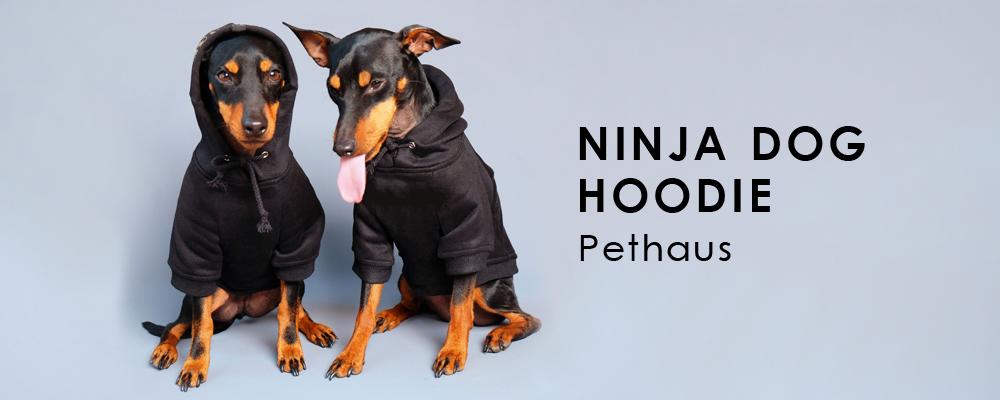 メルボルン発ドッグブランド「PETHAUS(ペットハウス)」のやわらかブラックパーカー!テーマはニンジャです。