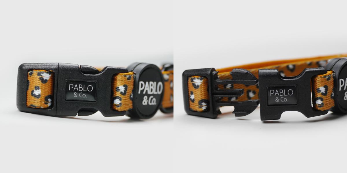 オーストラリアのドッグブランド「Pablo & Co.(パブロ&コー)」のワニ模様の首輪。バックルは片手で簡単に装着できます。