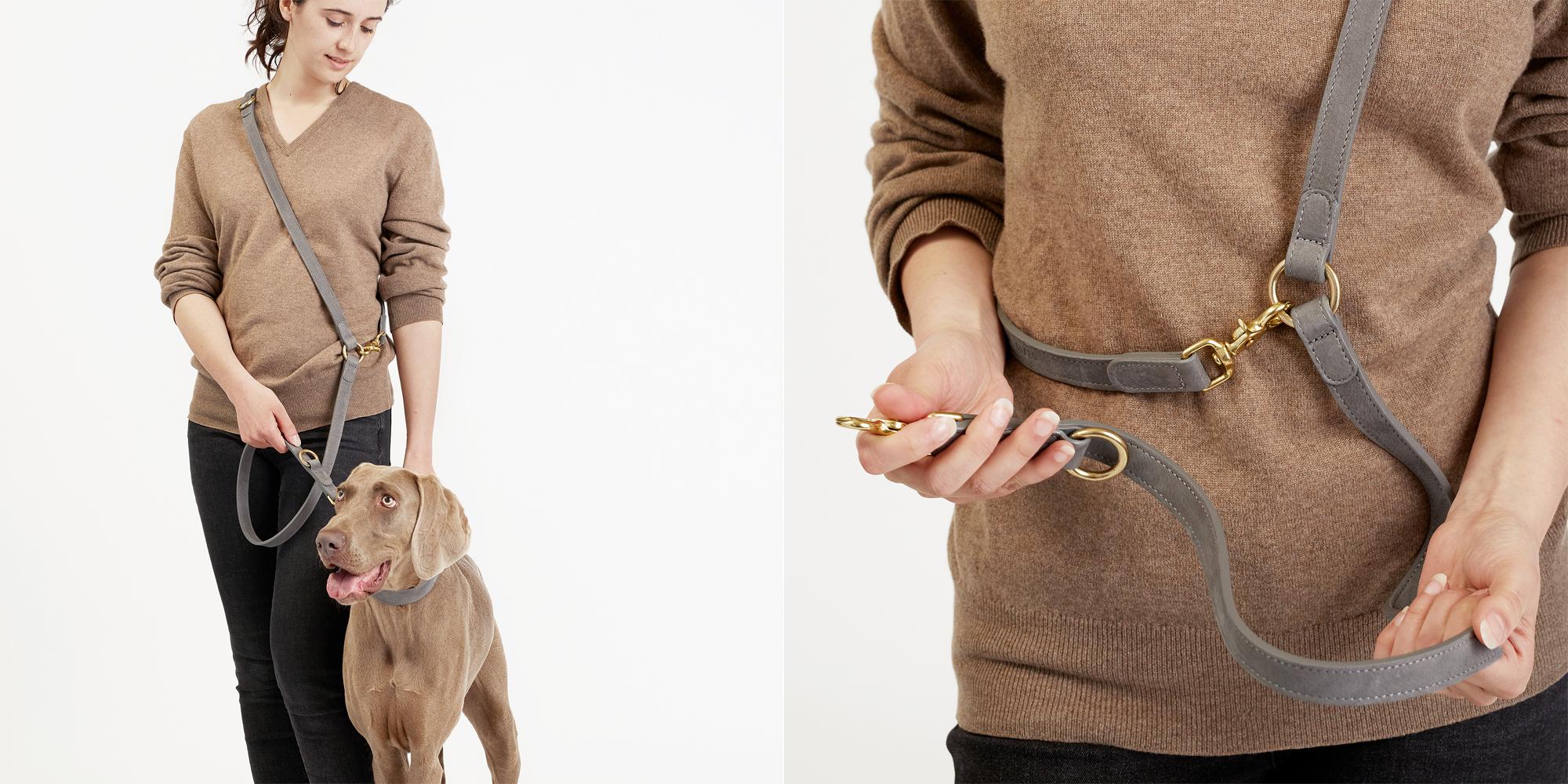 愛犬用革製リード from ドイツ。Cloud7の柔らかい革製リードです。トープ(明るい灰色)。
